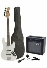 Fever 4-String Electric Jazz Bass, 20-Watts Am, Bag, Tuner, Cable, Strap, White