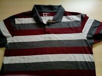 Mens Striped Cotton Short Sleeve Fitted Polo Shirt Size Large L
