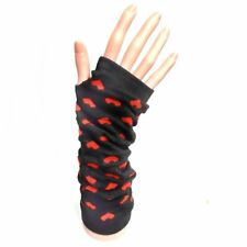 Long Fingerless Gloves With Red Hearts - Winter Christmas Gift Idea