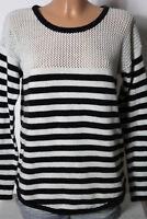 ROXY Pullover Gr. L, passt mit S/M weiß-schwarz gestreift Strick Damen Pullover