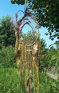 UK Handmade DreamCatcher Mustard/Green/Brown Peacock Totem Love & Protection