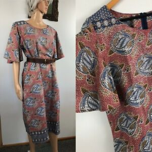 Vintage Batik Print Sz 16-18 summer DRESS flutter sleeves pockets border print