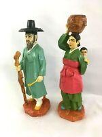"Vintage Pair Carved Wood Wooden Korean Hanbok Couple Figure Figurines 10"""