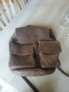 LL Bean Maine Guide Rucksack Brown Leather drawstring backpack vtg