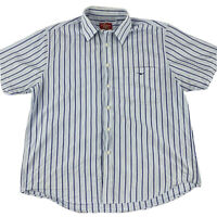 RM Williams Mens Button Up Short Sleeve Shirt Blue Stripe Size L