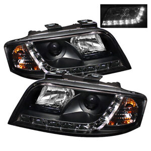 Audi 02-04 A6 / Quattro Black Projector Headlights DRL Daytime Running LED Light