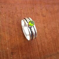 Peridot Solid 925 Sterling Silver Spinner Meditation Statement Ring Rp3