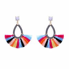 Gold Plated Dot Sectorial Turquoise Tassels Colorized Drop Earrings