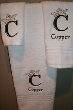Monogram Crown Engraved Letter  Personalized 3 Piece Bath Towel Set ANY COLOR
