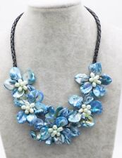 """freshwater pearl shell flower blue18"""" necklace nature wholesale beads make"""