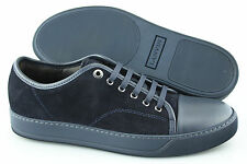 Men's LANVIN 'Lace-Up' Navy Blue Leather / Suede Sneakers Size US 8 UK 7