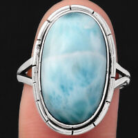Natural Larimar (Dominican Republic) 925 Sterling Silver Ring s.7.5 Jewelry 3697