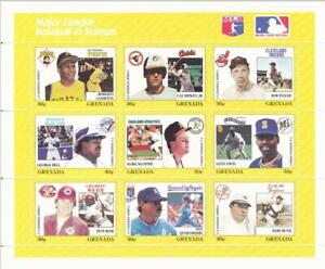 Major League Baseball in Stamps. 9-Stamp Block from Grenada.  Mint.