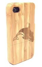 iPhone 4/4s Bamboo Wood Case ( Whale Engraving ) 100% Real Wood Cover✔️