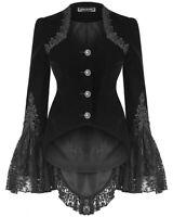 Dark In Love Womens Gothic Riding Jacket Black Velvet Lace Steampunk Victorian