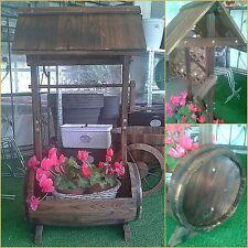PORTAVASO FIORIERA BOTTE in legno trattato vasi con tetto giardino fiori vaso