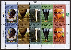 MARSHALL ISLANDS, SCOTT # 947, SHEET OF 10 FAMOUS HOT AIR BALLONS, YEAR 2009 MNH