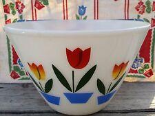 "Vtg 1950s FIRE KING Milk Glass 9 1/2"" Splash Proof TULIP Fluted Mixing Bowl"