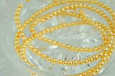 225PCS 4mm Glass Pearl Spacer Yellow Gold Color Round DIY Imitation Pearl beads