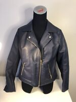 New York & Company Faux Leather Motorcycle Jacket Women's Size S Small Navy Blue