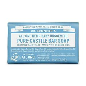 💚 Dr. Bronner Organic Baby Unscented Pure-Castile Bar Soap 140g