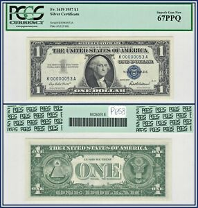 Rare Low 2-Digit 1957 $1 Silver Certificate Dollar PCGS 67 PPQ Superb Gem Unc
