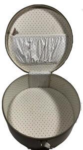 "Vintage PLANE MATE Carryall Suitcase Round Hat Box Hard Cream White 13"""