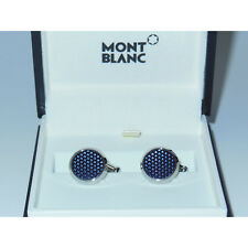 New Montblanc Meisterstuck Blue Hour Steel Blue Lacquer Round Cufflinks 112904