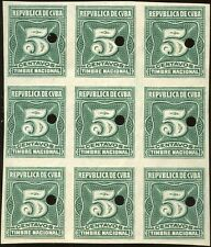 Us Admin Timbres Nacional Proofs 5¢ Green Blk/9 W/ Security Hole Punch Bn5937