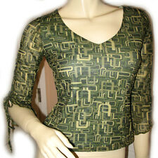 HEART SOUL Multicolor Green Pattern Bell 3/4 Sleeve V-Neck Top Blouse Womens S