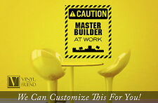 CAUTION Master Builder at work sign with lego bricks wall decor a vinyl decal