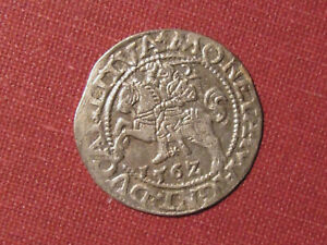 1562 LITHUANIA SILVER HALFGROAT (HALF GROSCHEN) - SHARP DETAILS, NICE CONDITION!