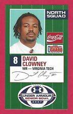DAVID CLOWNEY 2007 SENIOR BOWL VIRGINIA TECH VT HOKIES ROOKIE CARD NEW YORK JETS