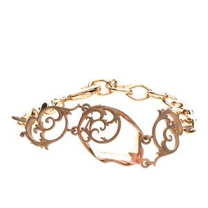 RRP €205 VERSACE COLLECTION Chain Bracelet Rhinestone Baroque Style Logo Charm