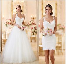 V Neck See Through Back 2 in 1 Wedding Dresses DetachableRemovable SkirtTrain