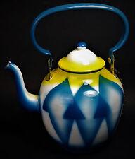 Art Deco Enameled Steel Tea Pot Kettle w/ Lid 1930s Antique Yugoslavia RARE MCM