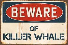 "Beware Of Killer Whale 8"" x 12"" Vintage Aluminum Retro Metal Sign VS471"