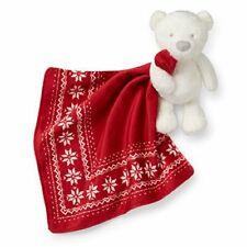 NWT  Carter's Holiday Fair Isle Bear Security Blanket; Red, White Bear