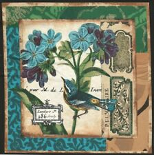 Vignette de Tissu Patchwork Oiseau Fleur Bleue Cotton Fabric Bird & Blue Flower