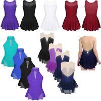 Girls Ballet Dance Dress Rhinestone Leotards Gymnastics Skirt Dancewear Costume