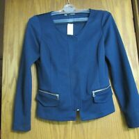 MAURICES NAVY ZIP FRONT POCKETS BLAZER JACKET MEDIUM NEW WITH TAGS!