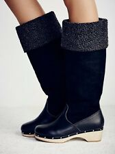 FREE PEOPLE CANOPY TALL CLOG BOOTS INTENTIONALLY BLANK SHOES BLACK NEW $348 39