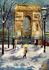 YARY DLUHOS Paris City Snow Arc de Triomphe Light Limited Edition ACEO Print Art