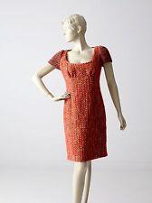 Prada wool tweed dress fitted wiggle dress knit sleeves size 42