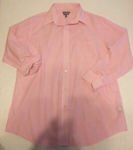 Men's Croft & Barrow Pink Pinstriped Button Down Dress Shirt Classic Fit 16 1/2