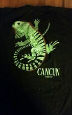 Cancun Beach Mexico Adult Large Black T-Shirt with Iguana Size XXL