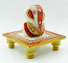 Hand Painted Décorative Lord Ganesha Chowki Solid Marble Home Décor-JNY