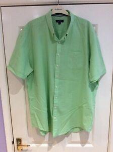 Gant Gingham Short Sleeve Shirt, Green ,3XL, Genuine