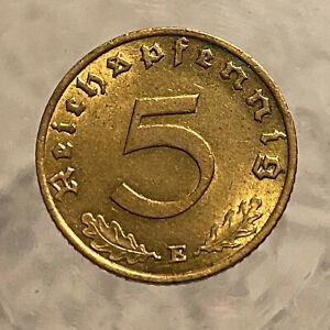 GERMAN 1939 E    world war two     5  Reichspfennig TOP COIN