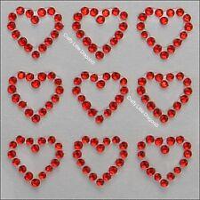 20 x 13mm Hearts Red Rhinestone Diamante Stick on Self Adhesive GEMS Wedding